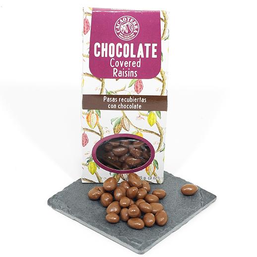 Pasas bañadas en chocolate con leche
