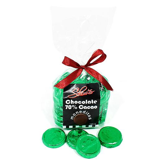 Monedas de chocolate oscuro 70% cacao