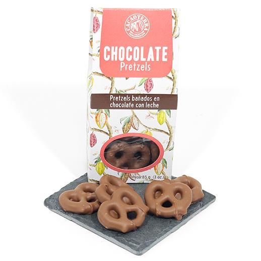 Pretzels bañados en chocolate con leche