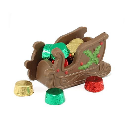 Trineo con rondas de chocolate rellenas de caramelo