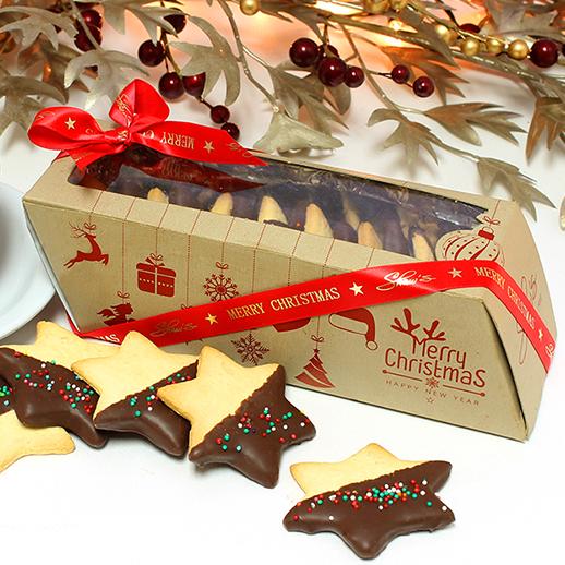 Galletas Estrellas de vainilla recubiertas en chocolate oscuro