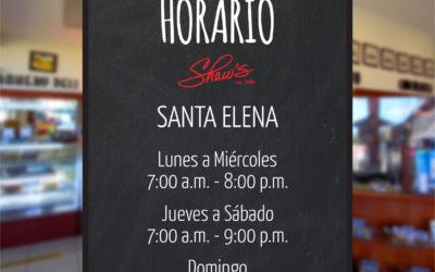 Nuevos horarios Shaw´s Sta. Elena